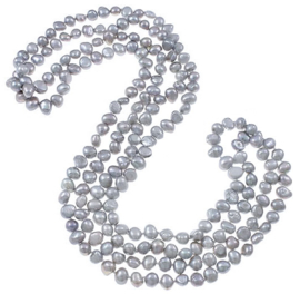 Zoetwater parelketting Long Grey Pearl