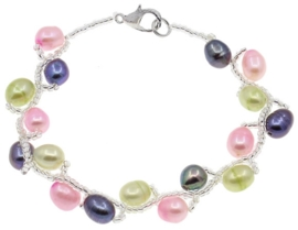 Zoetwater parel armband Twist Pearl Mix Color