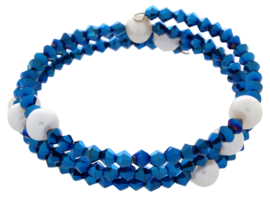 Zoetwater parel armband Pearl W Metalic Blue