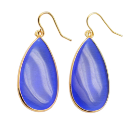 Edelstenen oorbellen Big Teardrop Blue Cat's Eye Gold