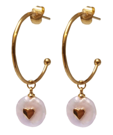 Zoetwater parel oorbellen Golden Hope 25 mm Love Pearl