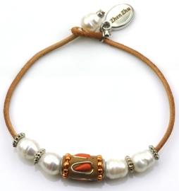 Zoetwater parel armband Ibiza Orange
