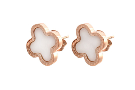 Parelmoeren oorbellen Rose Gold White Shell