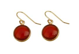 Edelstenen oorbellen Red Agate Gold Round