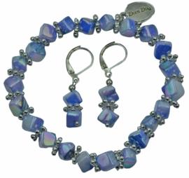 Parelmoeren set van armband en oorbel Shell Cube AB Blue