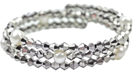 Zoetwater parel armband Pearl W Metalic Silver