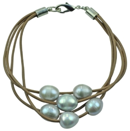 Zoetwater parel armband Leather Pearl Grey