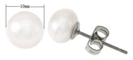 Zoetwater parel oorbellen Pearl White 10 mm