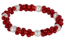 Zoetwater parel armband Coral Pearl