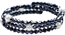 Zoetwater parel armband Pearl W Metalic Hematite