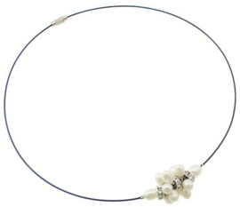 Zoetwater parelketting Bling White Ball Blue