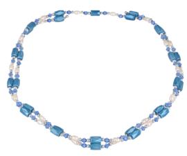 Zoetwater parel en edelstenen armband Wrap Magnetite Blue Pearl