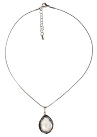 Zoetwater parelketting Bright Minimal Silver Teardrop