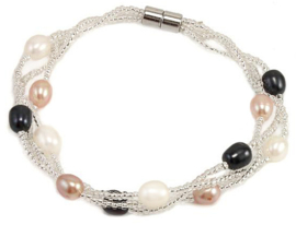 Zoetwater parel armband Twine Pearl Multi Color
