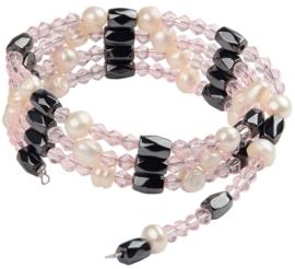 Zoetwaterparel en edelstenen armband Pearl Pink Crystal Magnetite Wrap