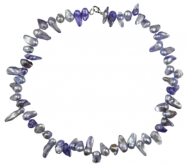 Zoetwater parelketting Purple Blister