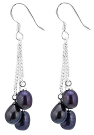 Zoetwater parel oorbellen Dangling Black Pearls