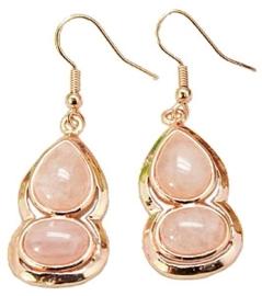 Edelstenen oorbellen Rose Quartz Gold
