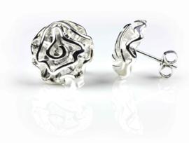 Verzilverde oorbellen Silver Fantasy Flower