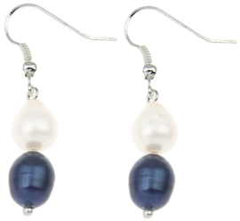 Zoetwater parel oorbellen Dangling Blue and White Pearl