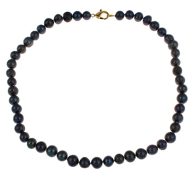 Zoetwater parelketting Bella Black Gold