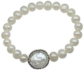 Zoetwaterparel set Bling Coin Pearl  (ketting en armband)