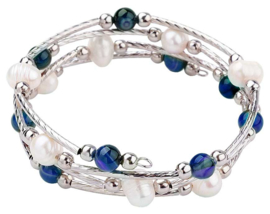 Zoetwater parel wikkelarmband Wrap Pearl Blue Striped Agate