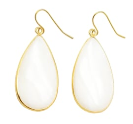 Parelmoeren oorbellen Big Teardrop White Shell Gold
