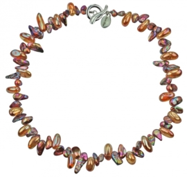 Zoetwater parelketting met edelsteen Quartz AB Color Brown