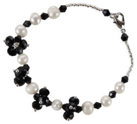 Zoetwater parel en kristallen armband Pearl Black Crystal