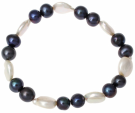 Zoetwater parel armband White Coin Dark Pearl