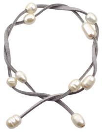 Zoetwater parel armband Wrap Suède Grey Pearl