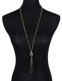 Cadeau set  met edelstenen ketting en oorbellen Bling Black Agate