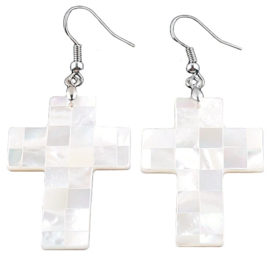Parelmoeren oorbellen White Mosaic Cross