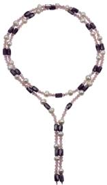 Zoetwaterparel en edelstenen ketting Pearl Pink Crystal Magnetite Wrap