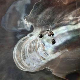 Cadeau set met edelstenen wikkelarmband en oorbellen Hematite
