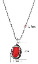 Edelstenen ketting Bright Red Turquoise