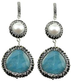 Zoetwater parel oorbellen met edelsteen Bright Pearl Blue Jade Silver