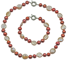 Zoetwaterparel set Red Pearl Peach Coin