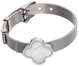 Parelmoeren armband White Shell Flower Watch