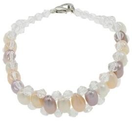 Zoetwater parel en kristallen armband Multi Color Pearl Crystal