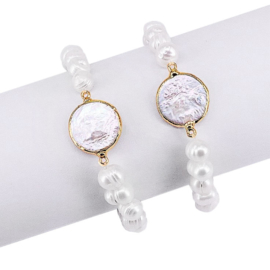 Zoetwater parel armband One Gold Coin Pearl