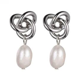 Zoetwater parel oorbellen Infinity Silver Knot Pearl