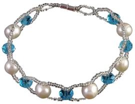 Zoetwater parel en kristallen armband Pearl Crystal Blue 8