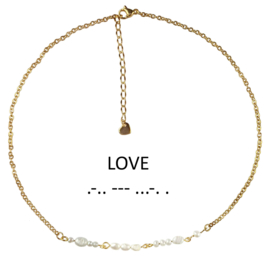 Cadeau set zoetwater parelketting Morse Code Love Pearl Gold