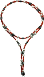 Zoetwaterparel en edelstenen ketting Pearl Red Crystal Magnetite Wrap