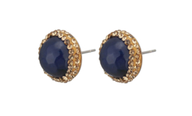Edelstenen oorbellen Golden Bright Blue Agate