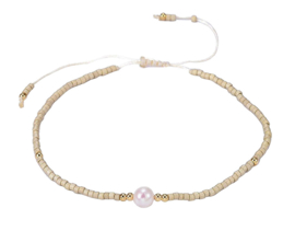 Zoetwater parel armband Mini Pearl One Wheat Color