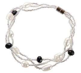 Zoetwater parel en kristallen armband Twine Pearl Black Crystal