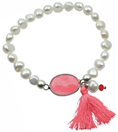 Zoetwater parel armband met edelsteen Pearl Watermelon Stone Tuft